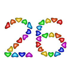 number 26 twenty six of colorful hearts on white vector image