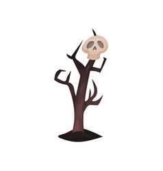 old brown tree with human skull on branch natural vector image