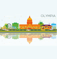Olympia skyline with color buildings vector