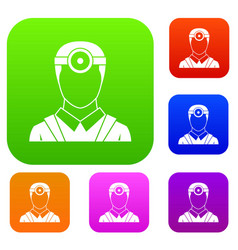 Ophthalmologist with head mirror set collection vector