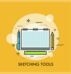 paper sketchbook pen pencil and ruler concept vector image