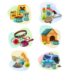 pet care concept composition icons set vector image