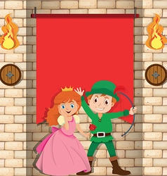 Princess and hunter in front of banner vector