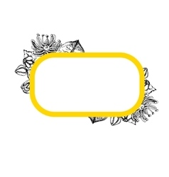 Rectangular frame with linden flowers vector image