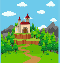 Scene with castle tower in the field vector
