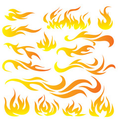 Set of flame a collection of stylized vector