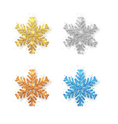 set of glitter snowflakes on transparent vector image