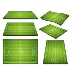 set soccer green fields vector image