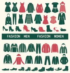 set with collection of men and women clothing vector image