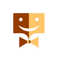 smiley rectangular smiling in a tie of two colors vector image