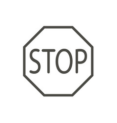 stop traffic icon line warning stop road s vector image