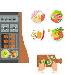 Stove cooked dishes and hands of the cook cooking vector