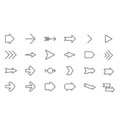thin line arrows icon set vector image