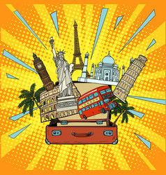 tourism and travel concept america europe asia vector image