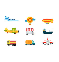 transport icons air transport river and sea vector image