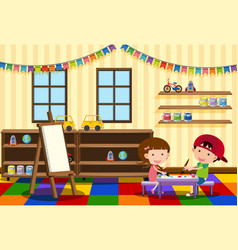 Two kids painting in the classroom vector