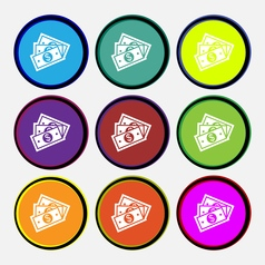 Us dollar icon sign Nine multi colored round vector image