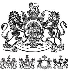 Victorian lion crest vector image