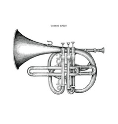 Vintage cornet hand drawing engraving the vector