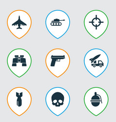 warfare icons set with artillery bomb sniper and vector image