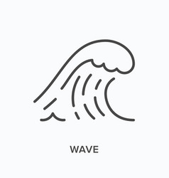 Wave flat line icon outline vector