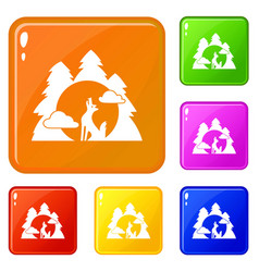 Wolf forest howl icons set color vector