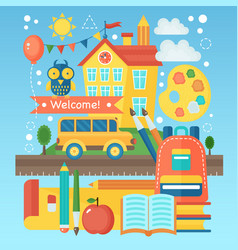 back to school banner with school building bus vector image