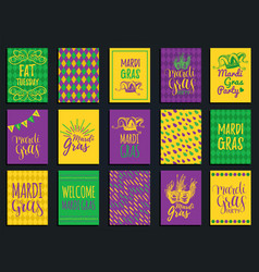 Mardi gras hand lettering greeting cards vector