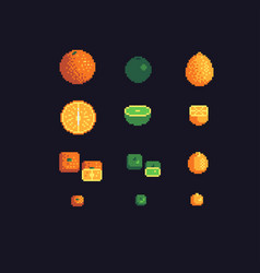 orange lime and lemon pixel art icons set vector image vector image