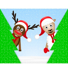 reindeer and sheep in the Christmas forest vector image vector image