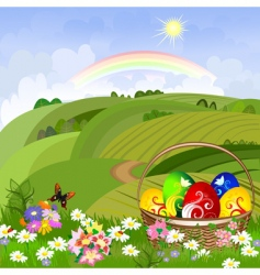 Easter clearing with a basket vector image vector image