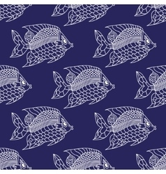 Fish engraved seamless pattern vector