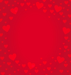 Frame border shaped from red heart on red vector image
