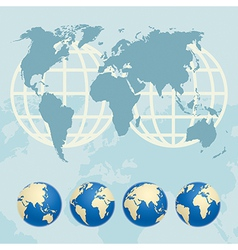 Map of the World and globes vector image