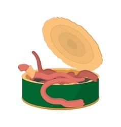 Tin of earthworms cartoon icon vector image