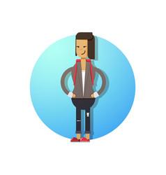 a happy woman flat design vector image
