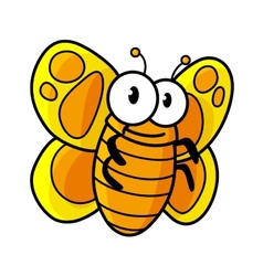 Yellow spotted butterfly cartoon character vector image