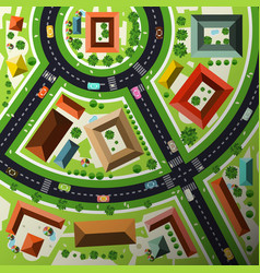 aerial top view flat design abstract green city vector image vector image