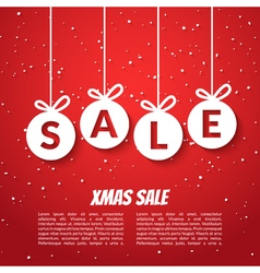 Christmas balls sale poster template Xmas sale vector image vector image