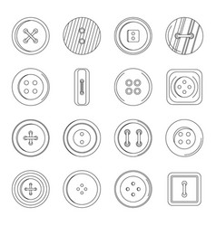clothes button icons set outline style vector image