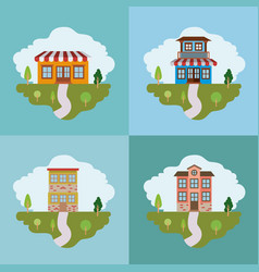 Colorful landscape with set of country houses vector