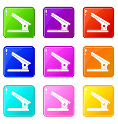 Office paper hole puncher icons 9 set vector
