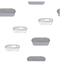 Opened and closed food tin cans seamless pattern vector