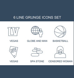 6 grunge icons vector