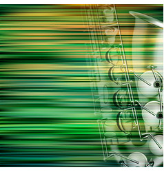 abstract green blur background with saxophone vector image