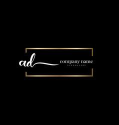 Ad initial letter handwriting logo hand drawn vector