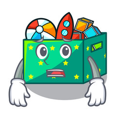 Afraid kids toys in the cartoon box vector