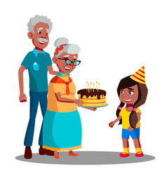 afro american old man woman celebrating child vector image