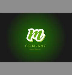 Alphabet letter logo green 3d company icon design vector