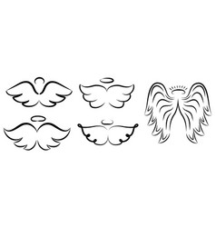 angel wings drawing winged angelic vector image